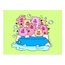 Happy Pigs Illustration Postcard