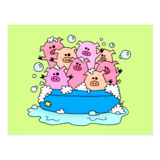 Happy Pigs Illustration Postcard