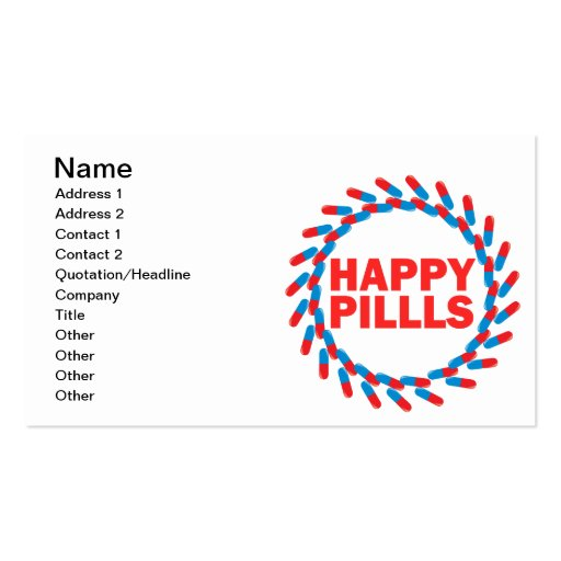 Happy Pills Double-Sided Standard Business Cards (Pack Of 100)