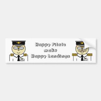Happy pilots make happy landings Bumper Car Bumper Sticker