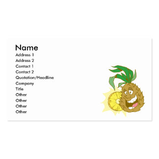 happy pineapple character dude business card