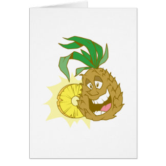 happy pineapple character dude card