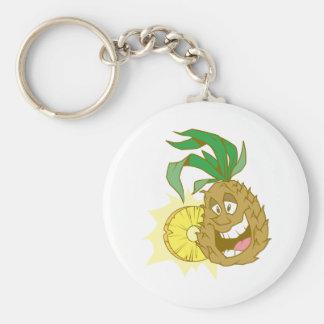 happy pineapple character dude keychain