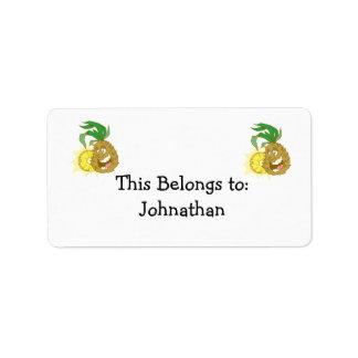 happy pineapple character dude label