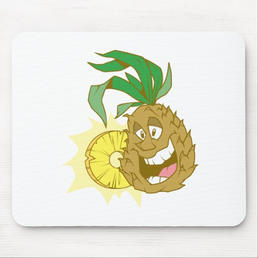 happy pineapple character dude mouse pad