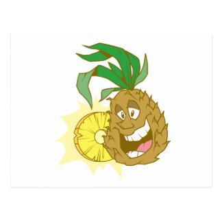happy pineapple character dude postcard