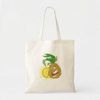 happy pineapple character dude tote bag
