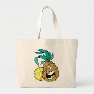 Happy Pineapple Large Tote Bag