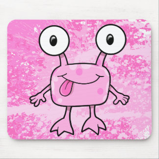 Happy Pink Alien Monster  Mouse Pad