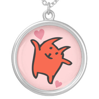 Happy Pink and Orange Love Kitty Necklace