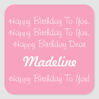 Happy Pink and White Personalized Birthday Song Square Sticker