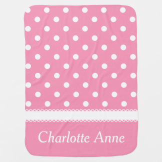 Happy Pink and White Polka Dot Personalized Receiving Blanket
