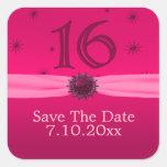Happy Pink Birthday 16 Fun Square Sticker