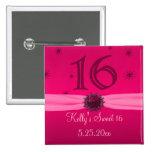 Happy Pink Birthday 16 Keepsake Buttons
