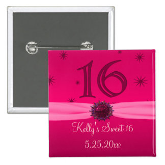 Happy Pink Birthday 16 Keepsake Pinback Button