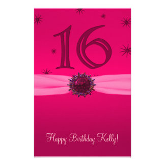 Happy Pink Birthday 16 Paper Personalized Stationery