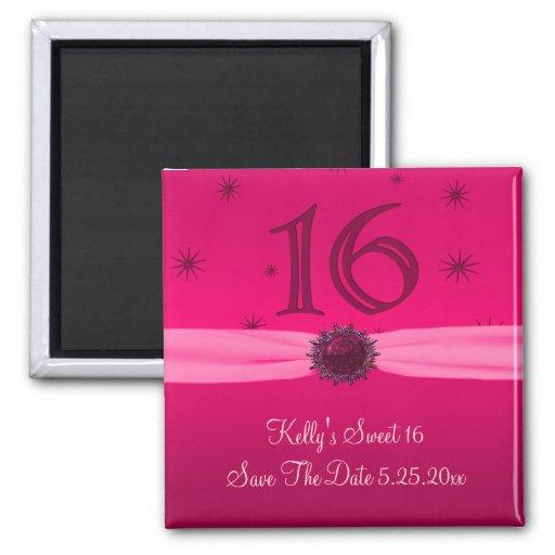 Happy Pink Birthday 16 Reminder 2 Inch Square Magnet