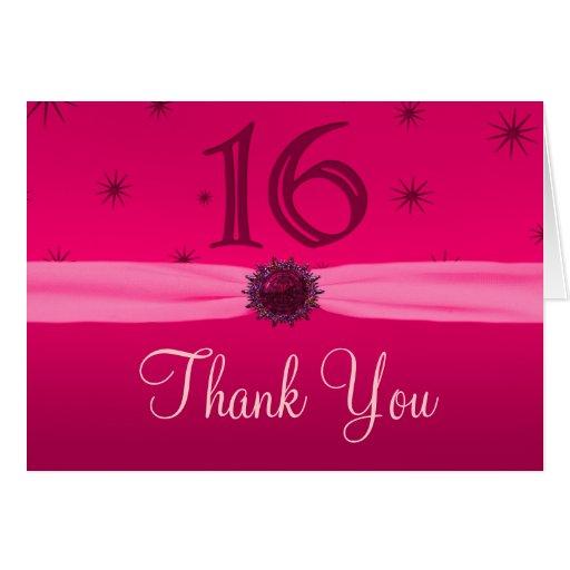 Happy Pink Birthday 16 Thankyou Card