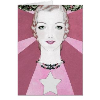 """HAPPY PINK CHEER"" VINTAGE ART DECO NEW YEAR CARD"
