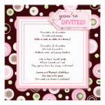 Happy Pink Dot Chocolate Birthday Party Invitation