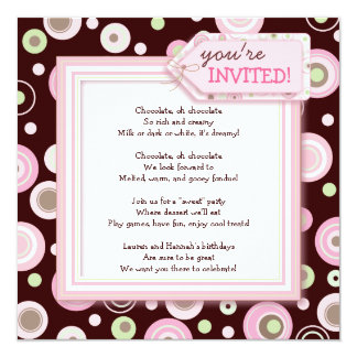 Happy Pink Dot Chocolate Birthday Party Invitation