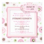 Happy Pink Dots Baby Girl Christening Invitation