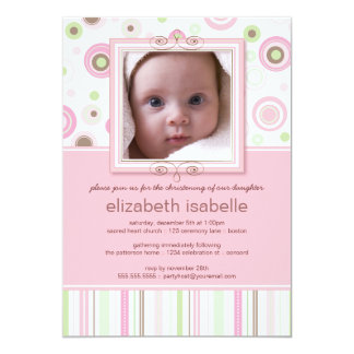"Happy Pink Dots Baby Photo Christening Invitation 5"" X 7"" Invitation Card"