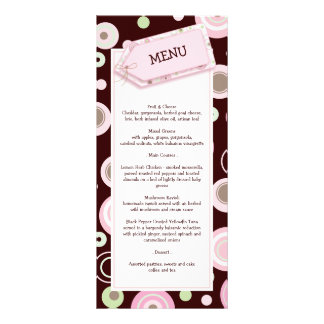 happy pink dots baby shower menu card