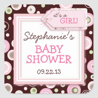 Happy Pink Dots Girl Baby Favor & Envelope Sticker zazzle_sticker