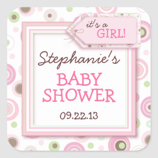 Happy Pink Dots Girl Baby Favor & Envelope Sticker
