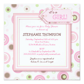 Happy Pink Dots Girl Baby Shower Invitation