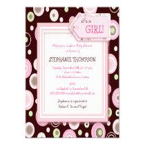 "Happy Pink Dots Girl Baby Shower Invitation 5.25"" Square Invitation Card"