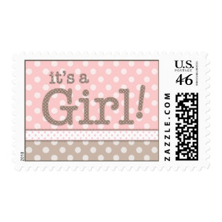 Happy Pink Dots It's a Girl Baby Postage Stamp