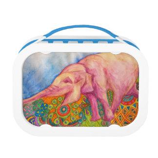 happy pink elephant lunch box