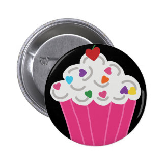 Happy Pink Heart Cupcake - Sweet Bakery Art 2 Inch Round Button