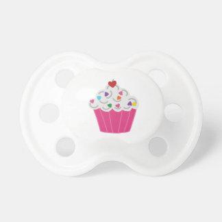 Happy Pink Heart Cupcake - Sweet Bakery Art Pacifier