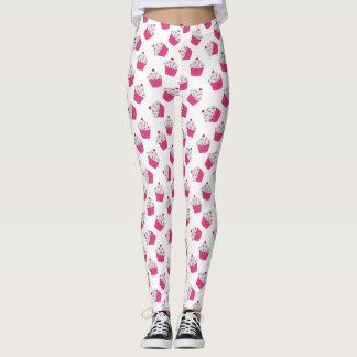 Happy Pink Heart Cupcakes - Sweet Bakery Pattern Leggings
