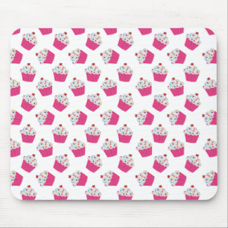 Happy Pink Heart Cupcakes - Sweet Bakery Pattern Mouse Pad