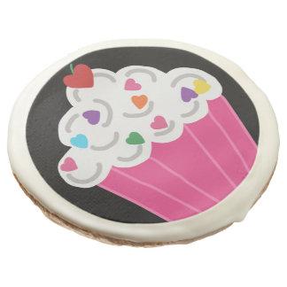 Happy Pink Heart Cupcakes - Sweet Bakery Pattern Sugar Cookie