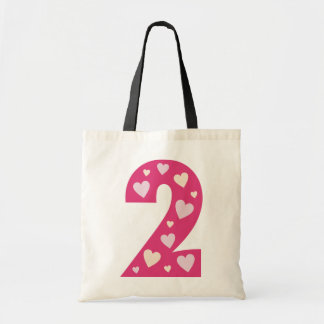 Happy Pink Hearts Number 2 Birthday Bag