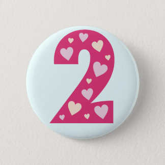 Happy Pink Hearts Number 2 Birthday Button