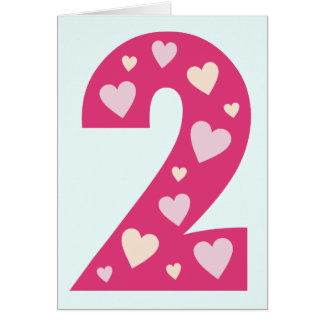 Happy Pink Hearts Number 2 Birthday Card