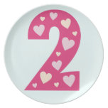 Happy Pink Hearts Number 2 Birthday Plate