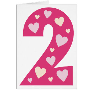 Happy Pink Hearts Number 2 Card