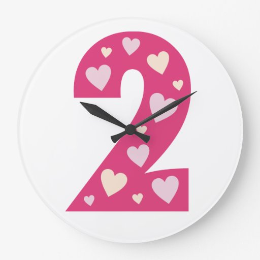 Happy Pink Hearts Number 2 Clock