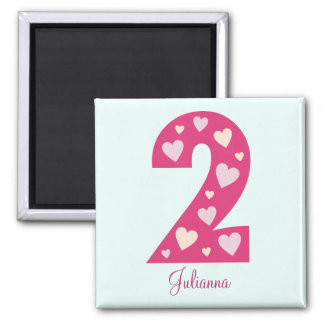 Happy Pink Hearts Number 2 Custom Magnet