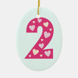Happy Pink Hearts Number 2 Oval Birthday Ornament