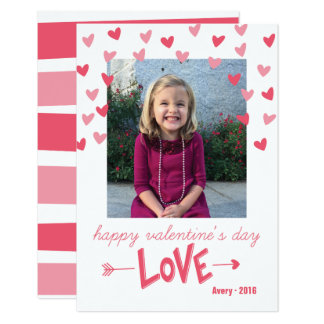 Happy Pink Hearts Valentine's Photo Card