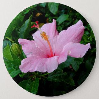Happy Pink Hibiscus Flower Button
