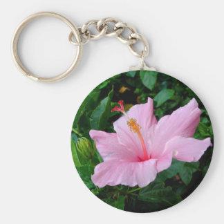 Happy pink hibiscus flower Keychain